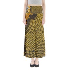 Sunflower Bright Close Up Color Disk Florets Maxi Skirts