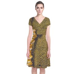 Sunflower Bright Close Up Color Disk Florets Short Sleeve Front Wrap Dress