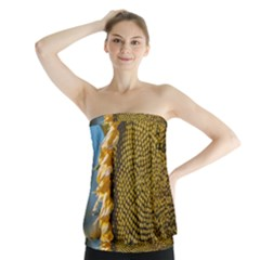 Sunflower Bright Close Up Color Disk Florets Strapless Top