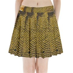 Sunflower Bright Close Up Color Disk Florets Pleated Mini Skirt