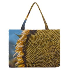 Sunflower Bright Close Up Color Disk Florets Medium Zipper Tote Bag
