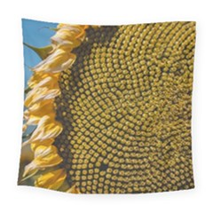 Sunflower Bright Close Up Color Disk Florets Square Tapestry (large)