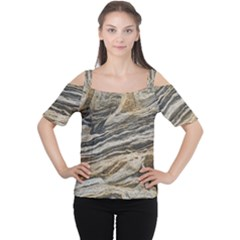 Rock Texture Background Stone Women s Cutout Shoulder Tee