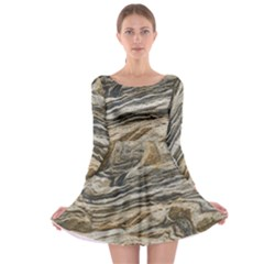 Rock Texture Background Stone Long Sleeve Skater Dress