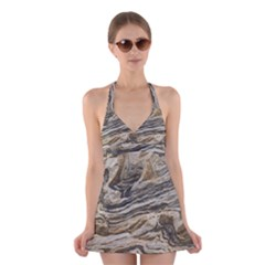 Rock Texture Background Stone Halter Swimsuit Dress