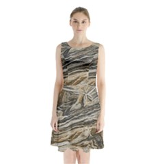 Rock Texture Background Stone Sleeveless Chiffon Waist Tie Dress