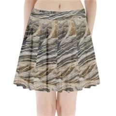 Rock Texture Background Stone Pleated Mini Skirt