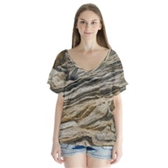 Rock Texture Background Stone Flutter Sleeve Top