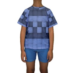 Texture Structure Surface Basket Kids  Short Sleeve Swimwear