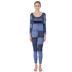 Texture Structure Surface Basket Long Sleeve Catsuit