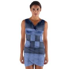 Texture Structure Surface Basket Wrap Front Bodycon Dress
