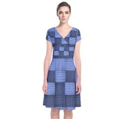 Texture Structure Surface Basket Short Sleeve Front Wrap Dress