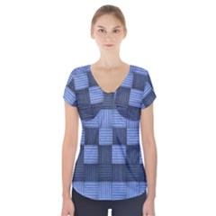 Texture Structure Surface Basket Short Sleeve Front Detail Top