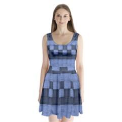 Texture Structure Surface Basket Split Back Mini Dress