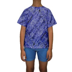 Texture Blue Neon Brick Diagonal Kids  Short Sleeve Swimwear