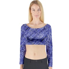 Texture Blue Neon Brick Diagonal Long Sleeve Crop Top