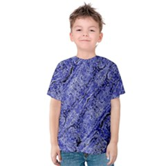 Texture Blue Neon Brick Diagonal Kids  Cotton Tee