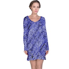 Texture Blue Neon Brick Diagonal Long Sleeve Nightdress