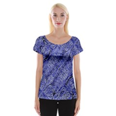 Texture Blue Neon Brick Diagonal Women s Cap Sleeve Top