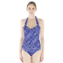 Texture Blue Neon Brick Diagonal Halter Swimsuit