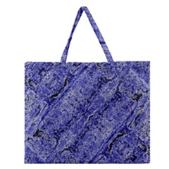 Texture Blue Neon Brick Diagonal Zipper Large Tote Bag