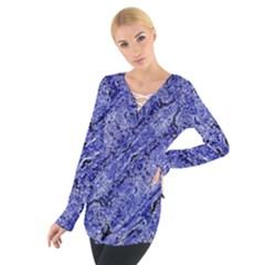 Texture Blue Neon Brick Diagonal Women s Tie Up Tee