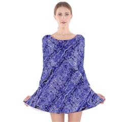 Texture Blue Neon Brick Diagonal Long Sleeve Velvet Skater Dress