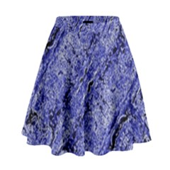 Texture Blue Neon Brick Diagonal High Waist Skirt
