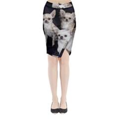 3 Chihuahuas Midi Wrap Pencil Skirt