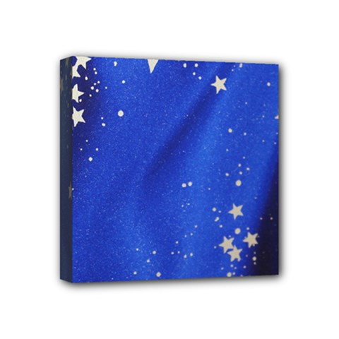 The Substance Blue Fabric Stars Mini Canvas 4  X 4