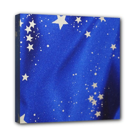The Substance Blue Fabric Stars Mini Canvas 8  X 8