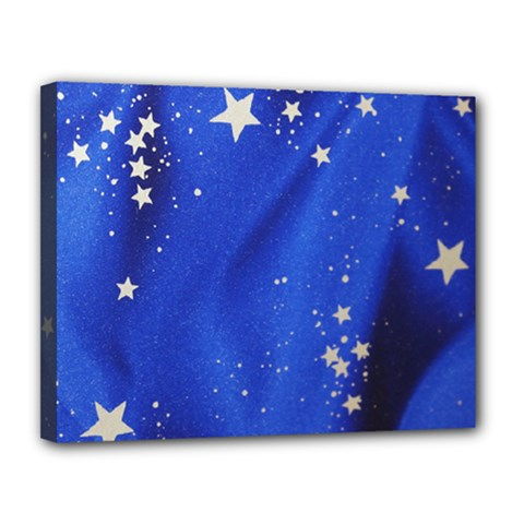 The Substance Blue Fabric Stars Canvas 14  X 11