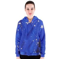 The Substance Blue Fabric Stars Women s Zipper Hoodie