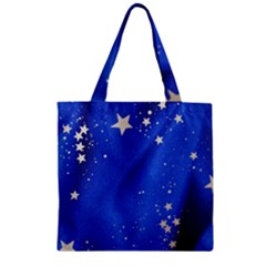 The Substance Blue Fabric Stars Zipper Grocery Tote Bag