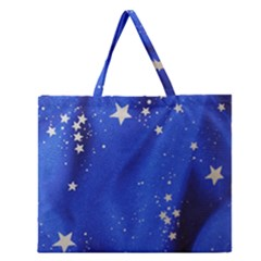 The Substance Blue Fabric Stars Zipper Large Tote Bag