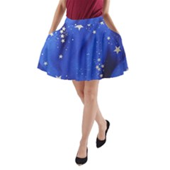 The Substance Blue Fabric Stars A Line Pocket Skirt