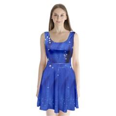 The Substance Blue Fabric Stars Split Back Mini Dress
