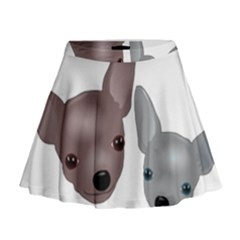 Chihuahua Art Mini Flare Skirt