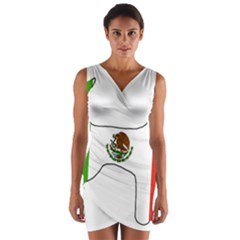 Chihuahua Mexico Flag Silhouette Wrap Front Bodycon Dress
