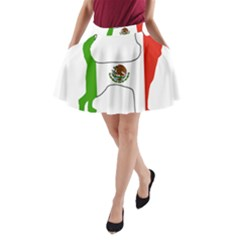 Chihuahua Mexico Flag Silhouette A-Line Pocket Skirt