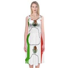 Chihuahua Mexico Flag Silhouette Midi Sleeveless Dress