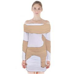 Chihuahua Silo Color Long Sleeve Off Shoulder Dress