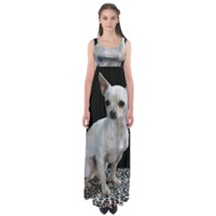 Chihuahua Sitting Empire Waist Maxi Dress