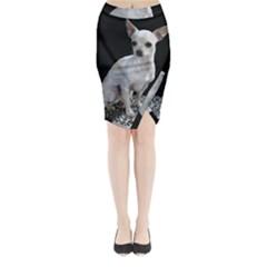 Chihuahua Sitting Midi Wrap Pencil Skirt