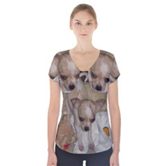 Chihuahua Puppy Short Sleeve Front Detail Top