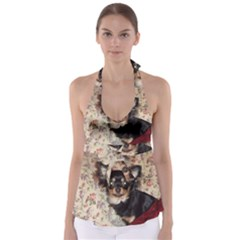 Long Haired Chihuahua In Bed Babydoll Tankini Top