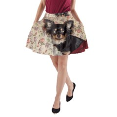 Long Haired Chihuahua In Bed A-Line Pocket Skirt