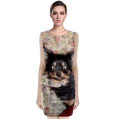 Long Haired Chihuahua In Bed Classic Sleeveless Midi Dress