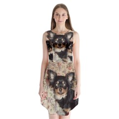 Long Haired Chihuahua In Bed Sleeveless Chiffon Dress