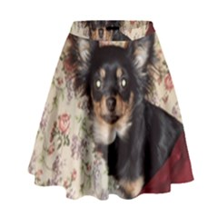 Long Haired Chihuahua In Bed High Waist Skirt